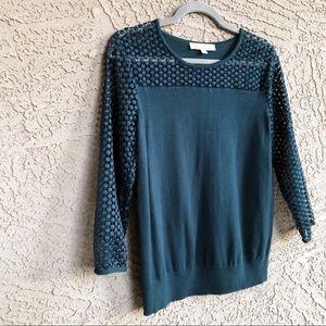 LOFT Emerald Teal Crochet 3/4 Sleeve Sweater